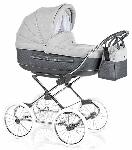 Roan, Marita Prestige - wózek głęboko-spacerowy z torbą na chromowanym stelażu