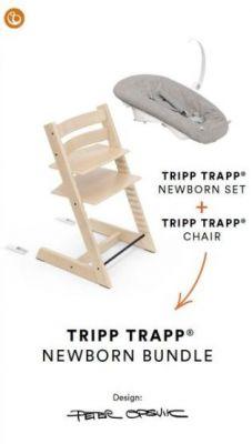 Stokke, Tripp Trapp + Newborn Set Grey - rosnące krzesełko do karmienia z zestawem dla noworodka