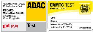 Recaro, Monza Nova 2 Seatfix - fotelik samochodowy 15-36kg testy ADAC
