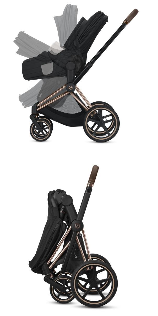 Cybex, Priam 2.0 - wózek spacerowy z gondolą Lux system składania do pozycji wolnostojącej