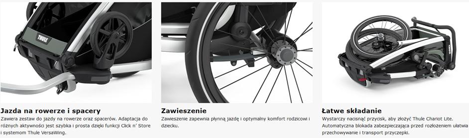 Thule, Chariot Lite 1 - Przyczepka rowerowa dla dziecka charakterystyczne cechy