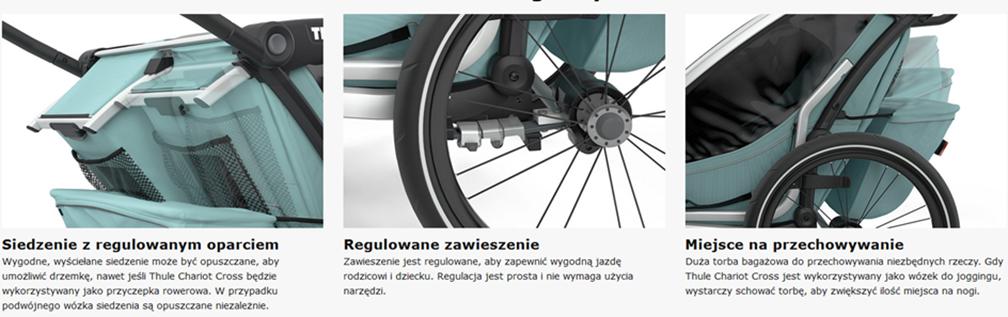 Thule, Chariot Cross 1 - Przyczepka rowerowa dla dziecka charakterystyczne cechy